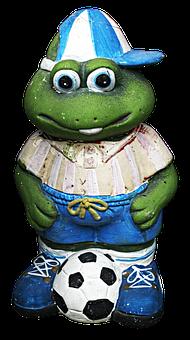 Footballers, Ball, Figure, Ceramic, Frog, Frog Figure