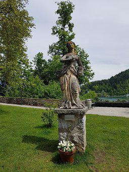 Bled Island, Statue, Plaster, Old Fashioned, Grass