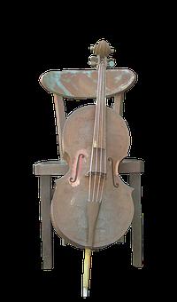 Kołobrzeg, Poland, Artwork, Iron, Chair, Cello