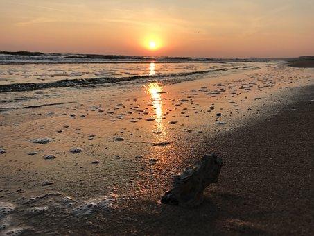 Sunrise, Sea, Beach, Morgenstimmung, Sun, Mirroring