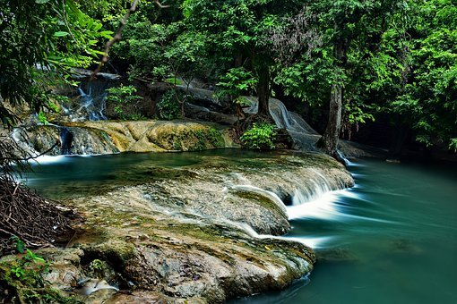 Waterfall, Nature, Tree, Thailand, Water, Rock, Outdoor