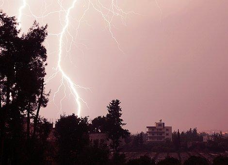 Lightning, Night, Thunder, Light, Rain, Sky