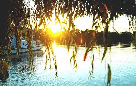 Sunset, Water, West, Lake, Tree, Nature, Wave, Poland