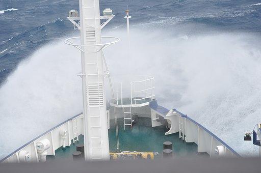Boat, Ship, Bow, Ocean, Wave, Rough, Sea, Vessel