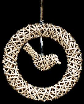 Woven, Wreath, Bird, Homemade, Decoration