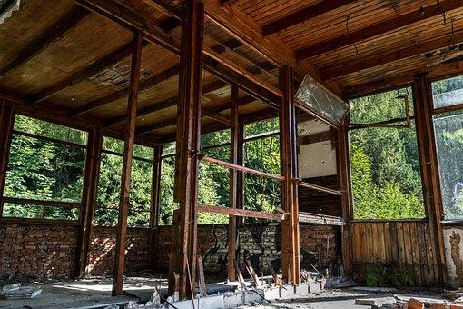 Abandoned, Crash, Hotel, Destroyed, Architecture, Wood