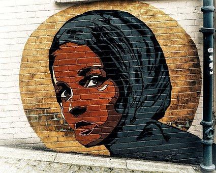 Street, Wall, Art, Muslim, Female, Head, Lady, London
