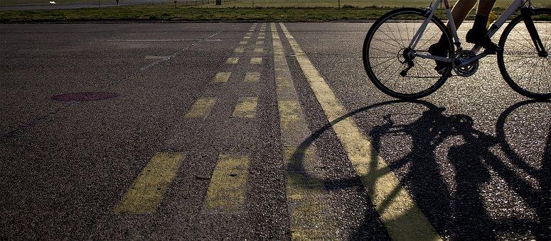Bike, Cyclists, Road, Sunrise, Tempelhof