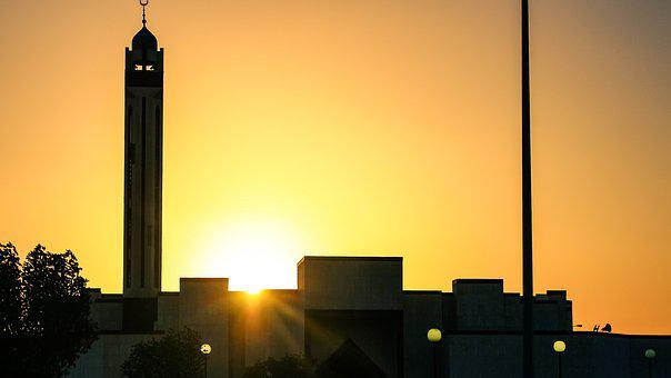 Sunset, Saudi Arabia, Mosque, Pillar, Silhouette