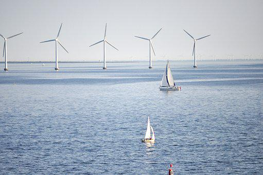 Sailboat, Windmill, Wind, Power, Water, Sea, Sky