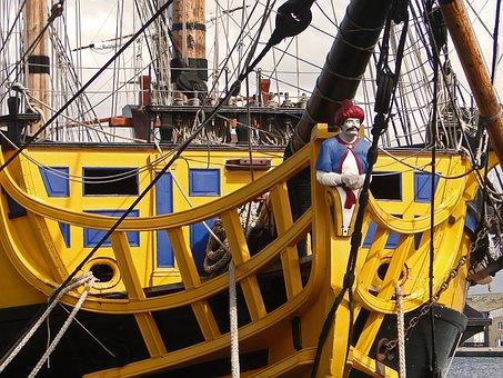 Sailboat, Former, Old Rig, Sea, Wood, Boat, Rope