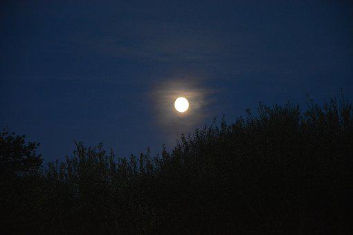 Night Landscape, Moon, Night, Sky, Full Moon, Nature