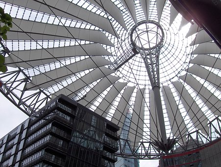 Berlin, Potsdam Place, Sony Center, Roof Construction