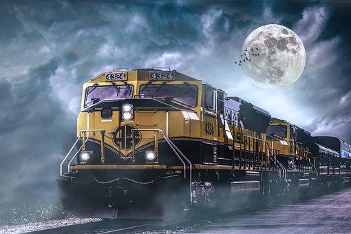 Locomotive, Railway, Loco, Train, Full Moon, Sky