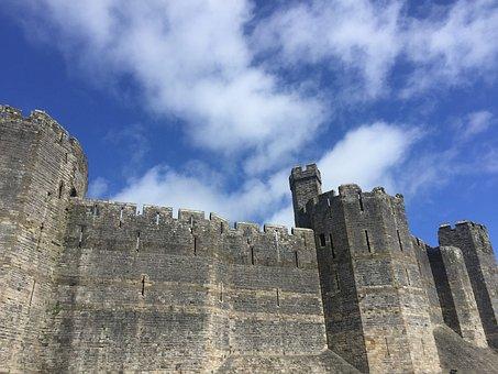 Castle, Wales, Grey, Blue, Sky, Welsh, Landmark, Uk