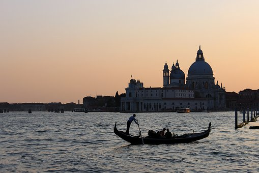 Venice, Gondola, Evening, Water, Italy, Romance