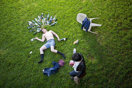 Man, Passed Out, Drinking, Parting, Alcohol, Bottles