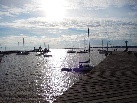 Pier, Rio, Boat, Bridge, Vista, Water, Bay, Sol