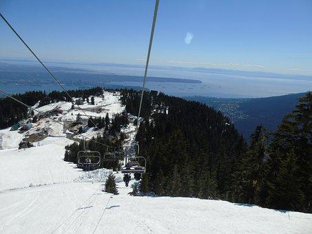 Cable Cart, View, Snow, Canada, Cable, Car, Landscape