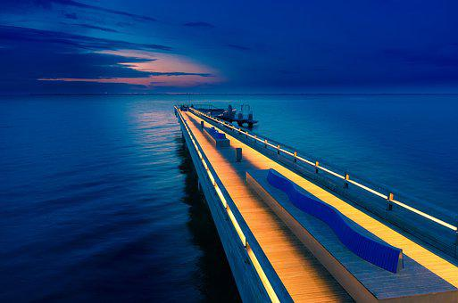 Sea Bridge, Heiligenhafen, Dusk, Baltic Sea, Sea, Ocean