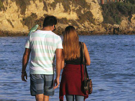 Couple, Walk, Beach, Walking, Man, Woman, Together