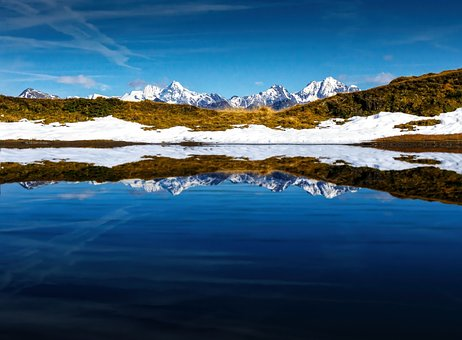 Mountains, Landscape, Mirroring, Nature