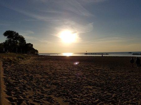 Beach, Lake, Sun, Moon, Ohio