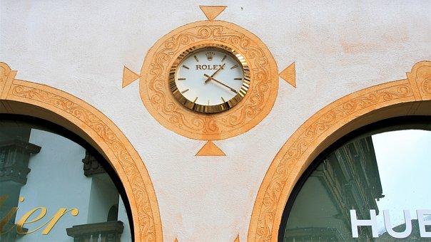 Facade, Frescoes, Clock, Brand, Pane, Reflection