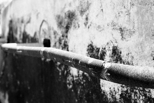 Line, Pipe, Black And White, Metal, Rust, Black, White