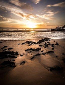 Tenby, Sunrise, Seascape, Light, Beach, Rocks, Tide