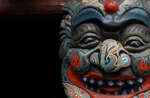 Mask, Wood Carving, Hanging Temple