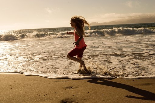 Beach, Run, Ocean, Sea, Young, Active, Healthy, Girl