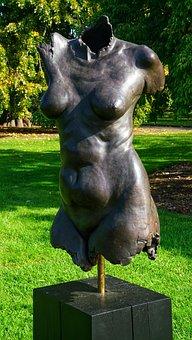 Female, Woman, Torso, Art, Sculpture, Bronze