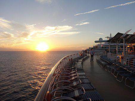 Ship, Deck, Sunset, Ocean, Cruise, Water, Vacation