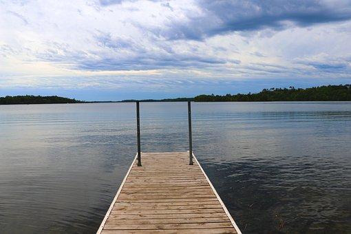 Pier, Dock, Lake, Water, Summer, Sky, Blue, Nature