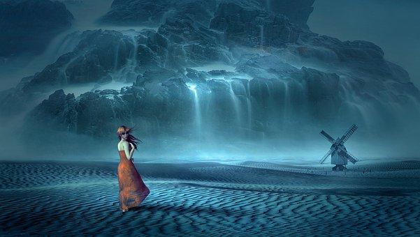 Fantasy, Waterfall, Mill, Desert, Mystical, Mood, Woman