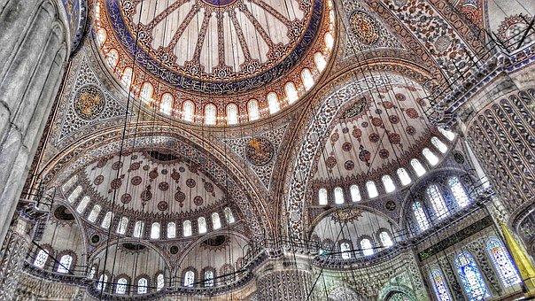Ceiling, Blue Mosque, Istanbul, Temple, Muslim, Islam