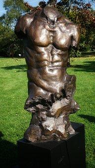 Male, Man, Torso, Art, Sculpture, Bronze, Kew Gardens