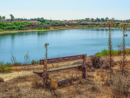 Bench, Lake, Landscape, Morning, Nature, Achna Dam