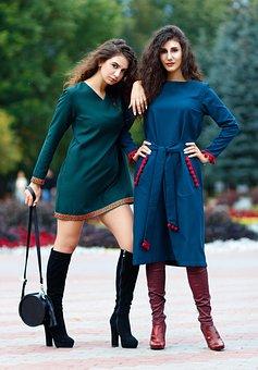 Girls, Fashion, Models, Lady, Dress, Two Girl, Style