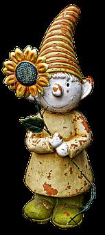 Garden Gnome, Dwarf, Imp, Sun Flower, Flowers Dwarf