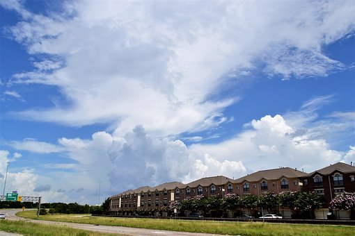 Townhouses, Houston Texas, Homes, Skyline, Clouds