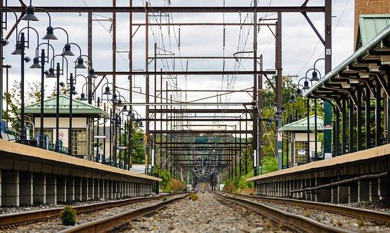 Train, Train Tracks, Perspective, Train Station
