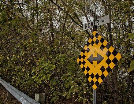 Sign, River, Trees, Navigation