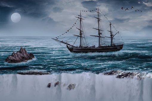Sailing Boat, Ship, Boot, Water, Waters, Rock
