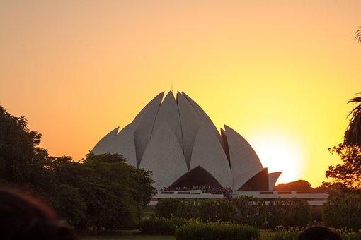 Lotustemple, Delhi, Agra, Asia, Building, Card, City