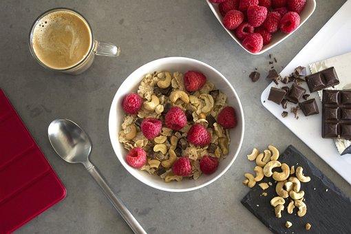Breakfast, Cereal, Milk, Raspberries, Cashew, Nuts