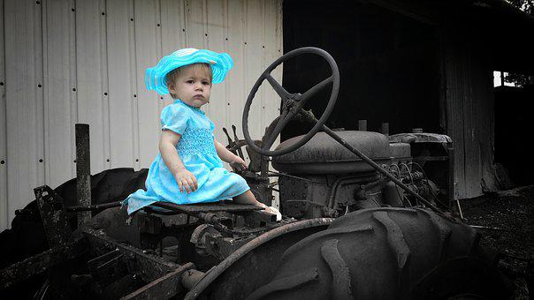 Girl, Young, Little, Blue Dress, Child, Hat, Cute