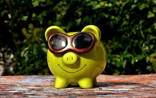 Lucky Pig, Cool, Sunglasses, Piggy Bank, Funny, Save