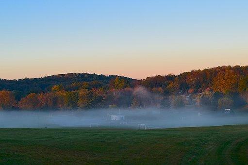 Sunrise, Mist, Field, Trees, Nature, Landscape, Fog
